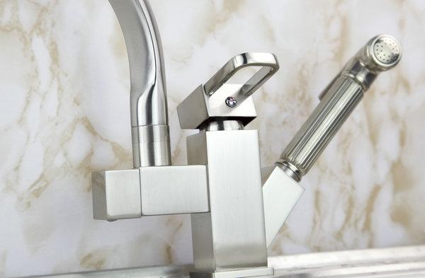 Montierte-Kuechenarmatur-Wasserfall-mit-Schwanenhals-Handgriff-Mis-Waschbecken