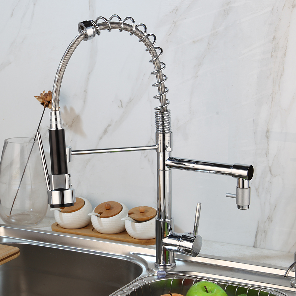 Swivel Pull Down Sprayer Chrome Kitchen Faucet Single Hole Basin Mixer Taps Ebay
