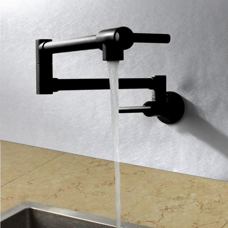 Black Wall Mounted Kitchen Faucet Swivel Mixer Single Hole Basin Sink Brass Tap Ebay