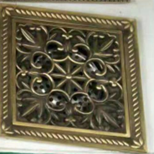 Antique Brass Flower Carved Bathroom Shower Waster Floor Drain Square Shaped