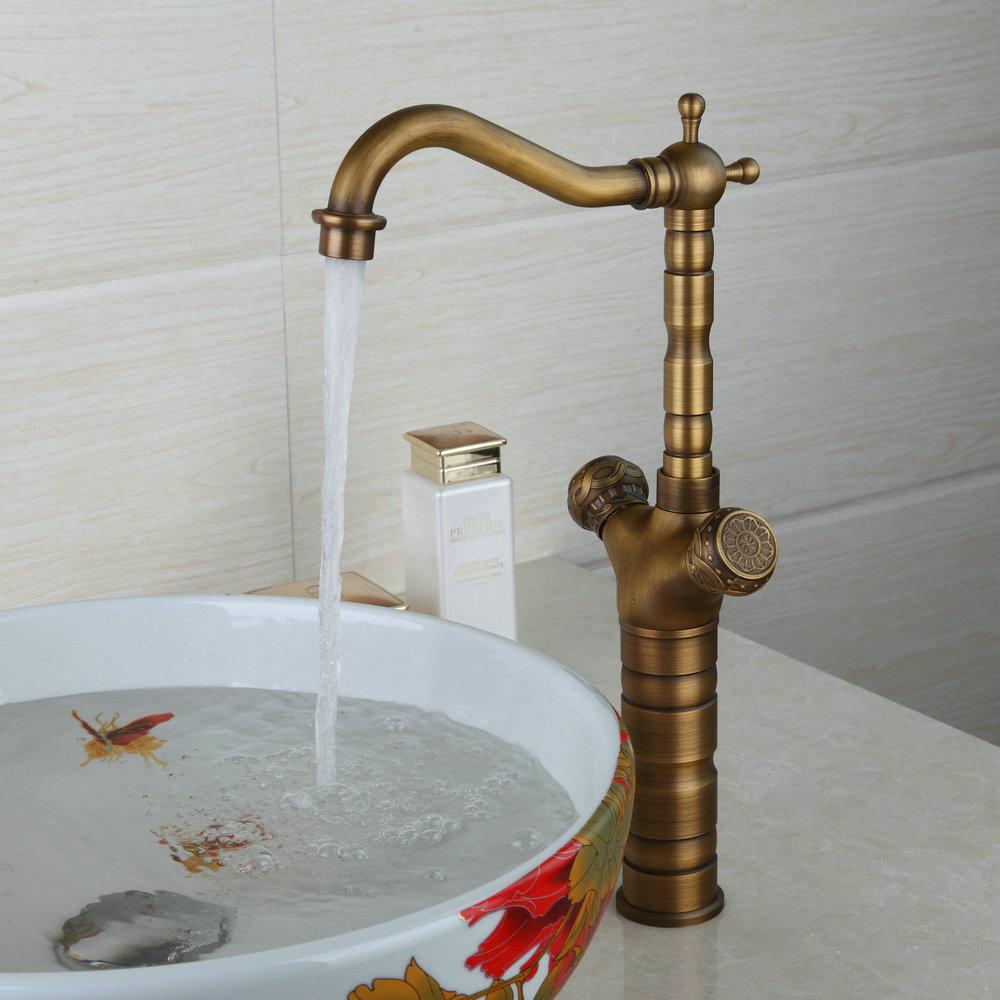 New Bathroom Antique Brass Basin Bowl Vessel Sink Faucet Dual