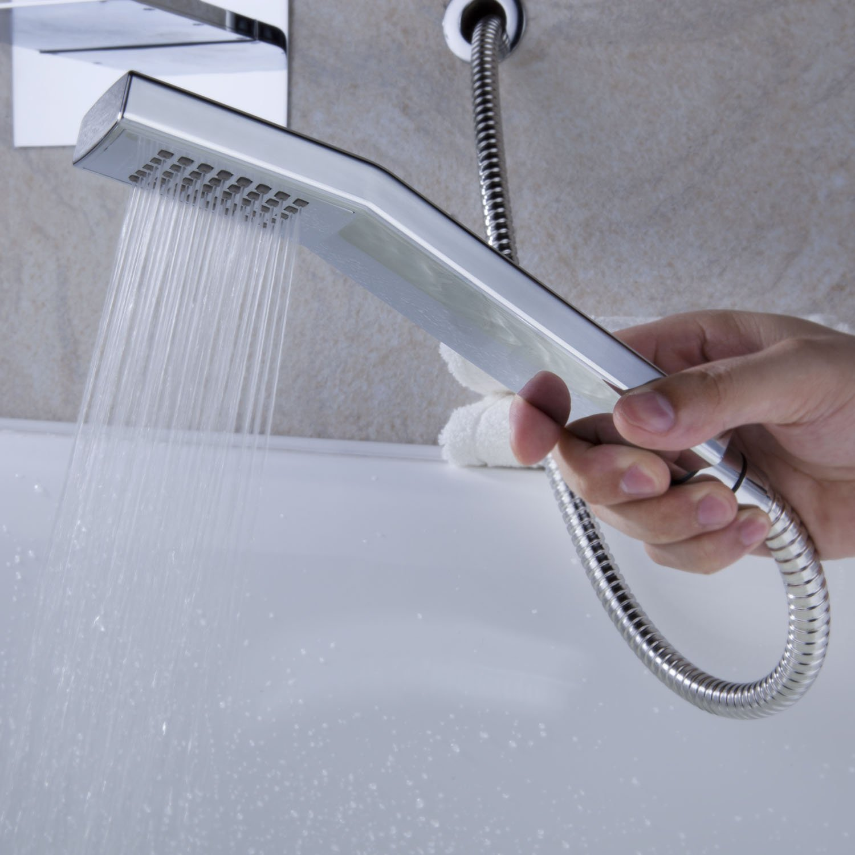 Wall Mount Bathroom 3pcs Tub Mixer Brass LED Faucet Taps & Plastic ...