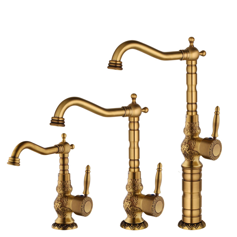 Single Hole Handle Antique Brass Bathroom Basin Faucet Vessel Sink