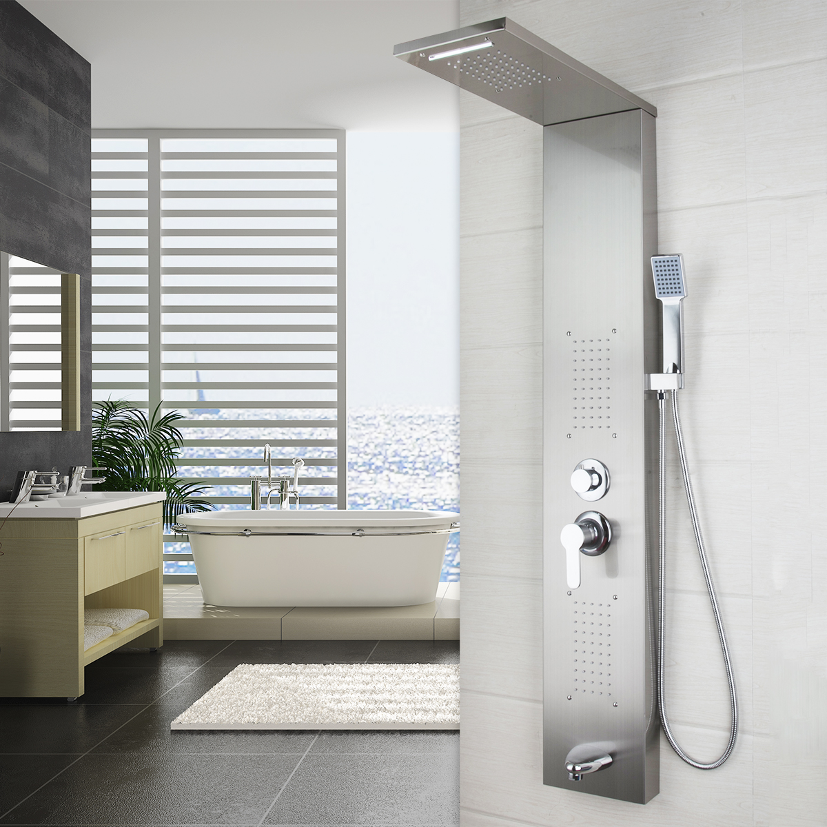 Shower Panel Screen Massage Jets Mixer Tap Bathroom Wall Mounted Faucet Unit