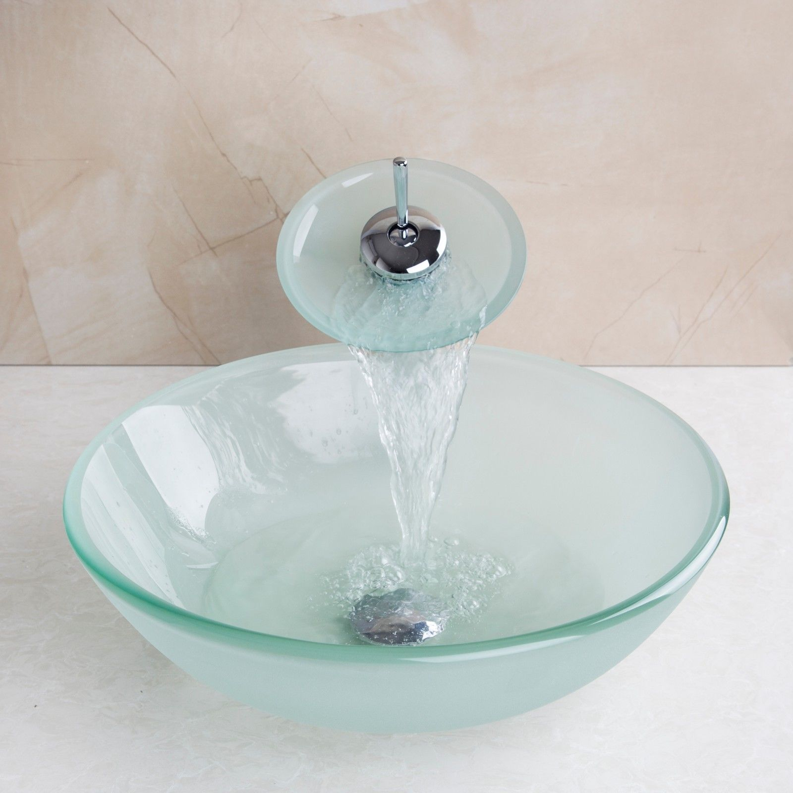 Tempered Glass Vessel Bathroom Round Basin Sink Bowl+Waterfall ...