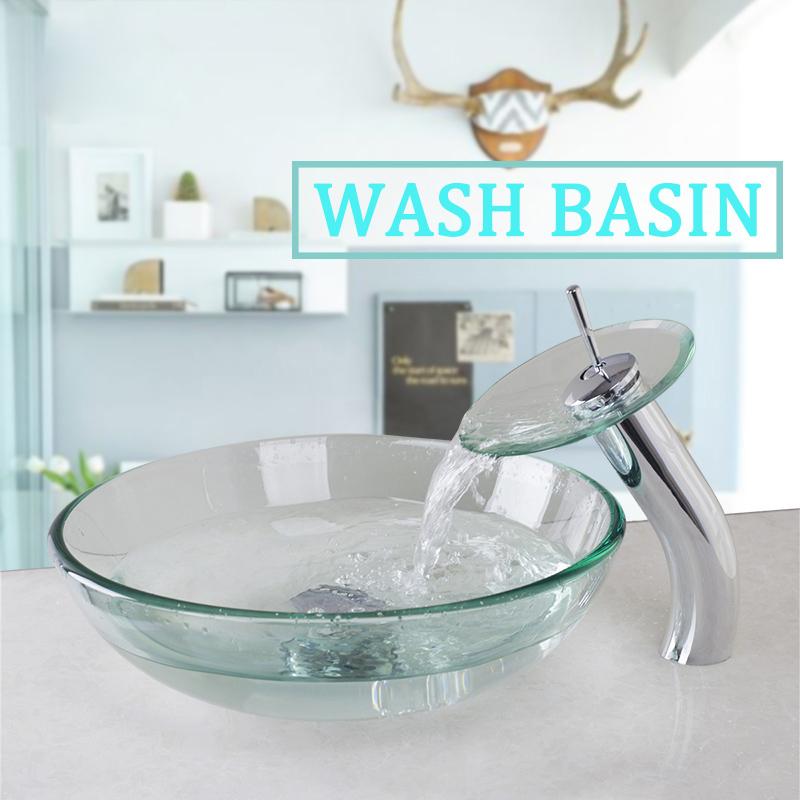FS Clear Glass Bowl Sink Vanity Lavatory Bathroom Round Basin Chrome ...