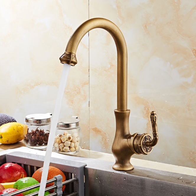 Antique Brass 360°Swivel Spout Kitchen Basin Vessel Sink Mixer Water Faucet Taps