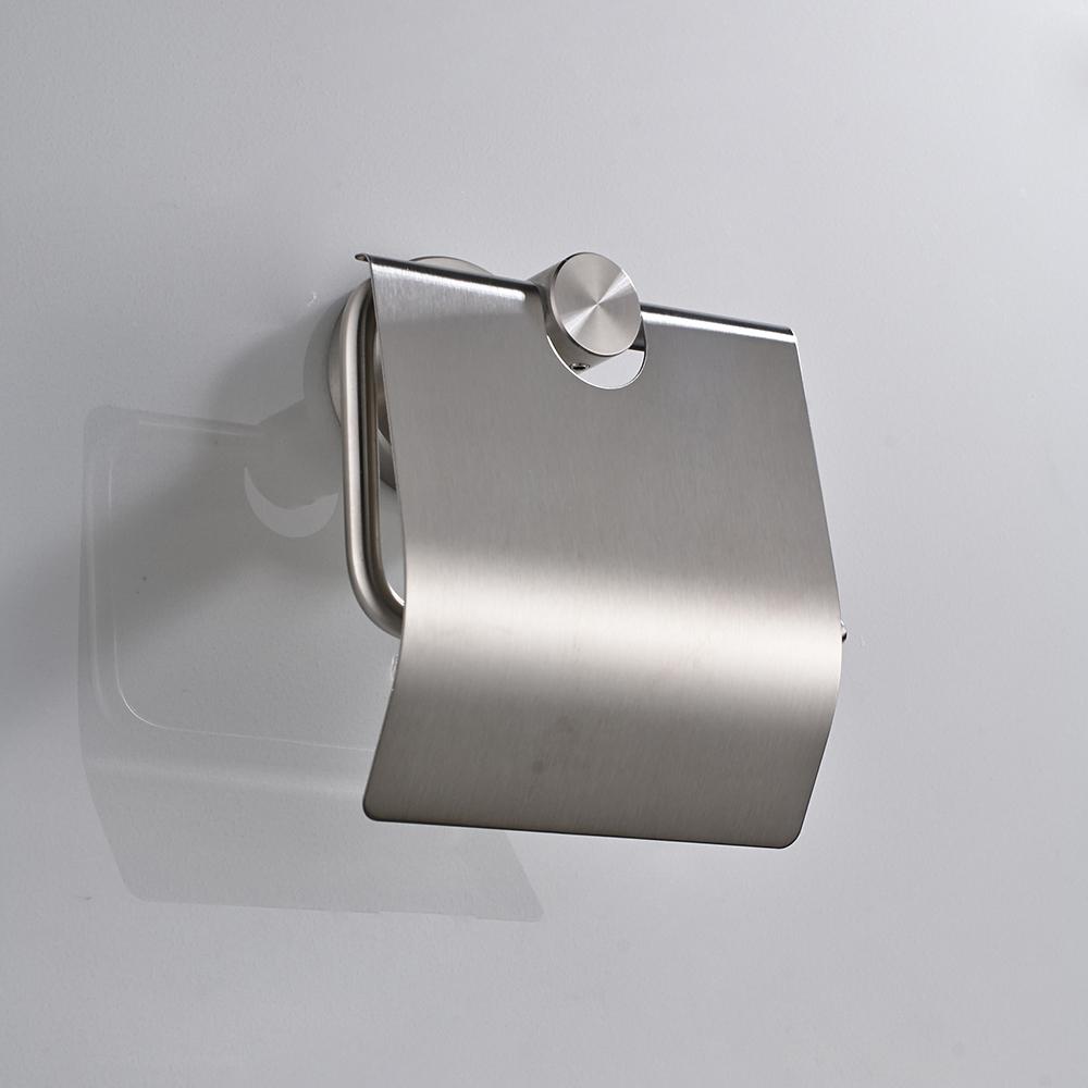 Bathroom Nickel Brushed Stainless Steel Toilet Paper Holder & Baffle ...