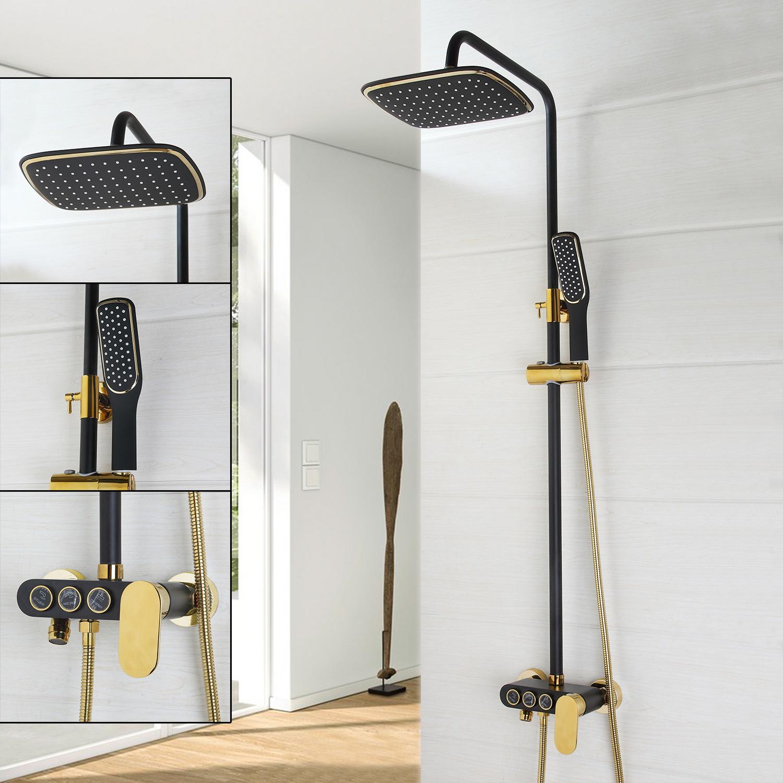 Wall Mount Bathroom Black Painting+Gold Rain Shower Head +Handheld ...
