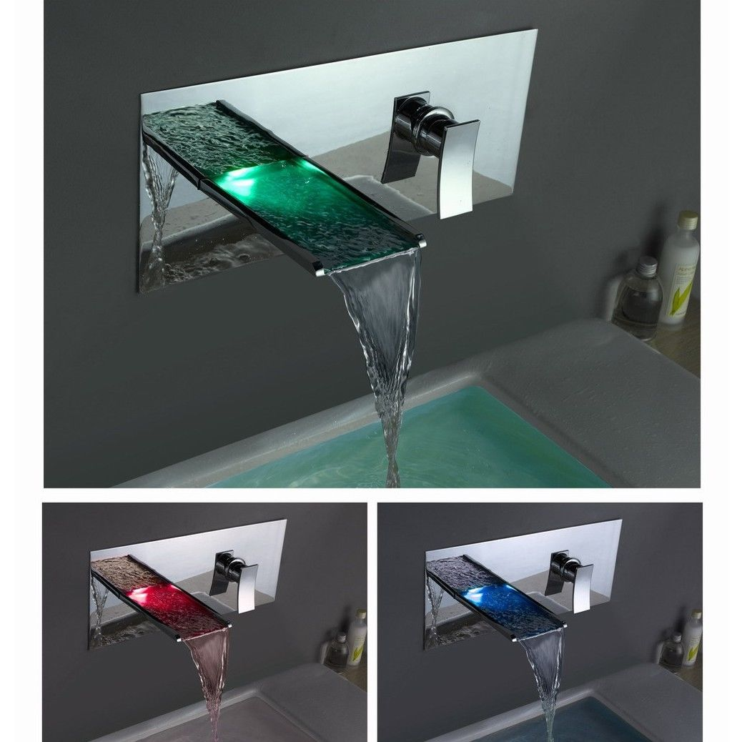 Bathroom Sink Basin Bathtub LED Wide Spout Waterfall Faucet Chrome ...