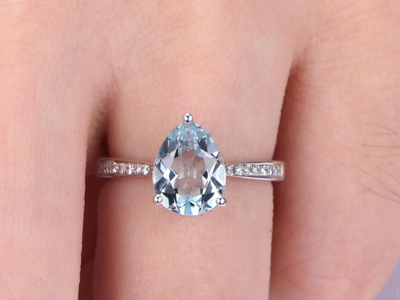 6*8MM Pear Cut Natural Aquamarine Diamond 14k Gold Water Drop ...