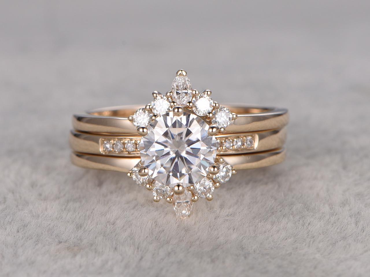 1ct Round Cut Esdomera Moissanite 14k Gold Crown 3pcs Engagement Bridal Set Ring
