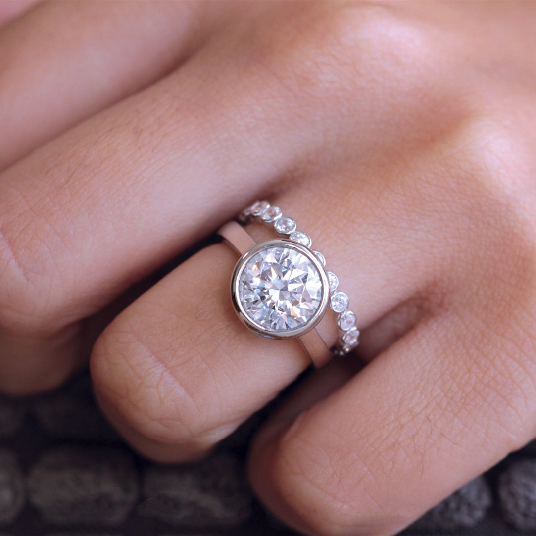 4CTW Round Cut Solitaire Simulated Diamond Plated Gold Eternity ...