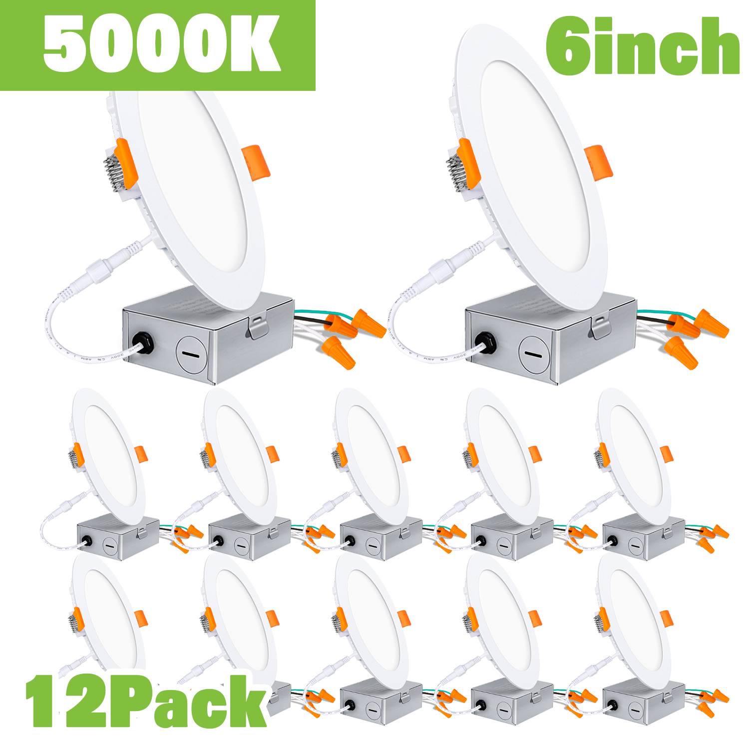 Hykolity 12 Pack 6 Inch Led Slim Recessed Lighting With Junction