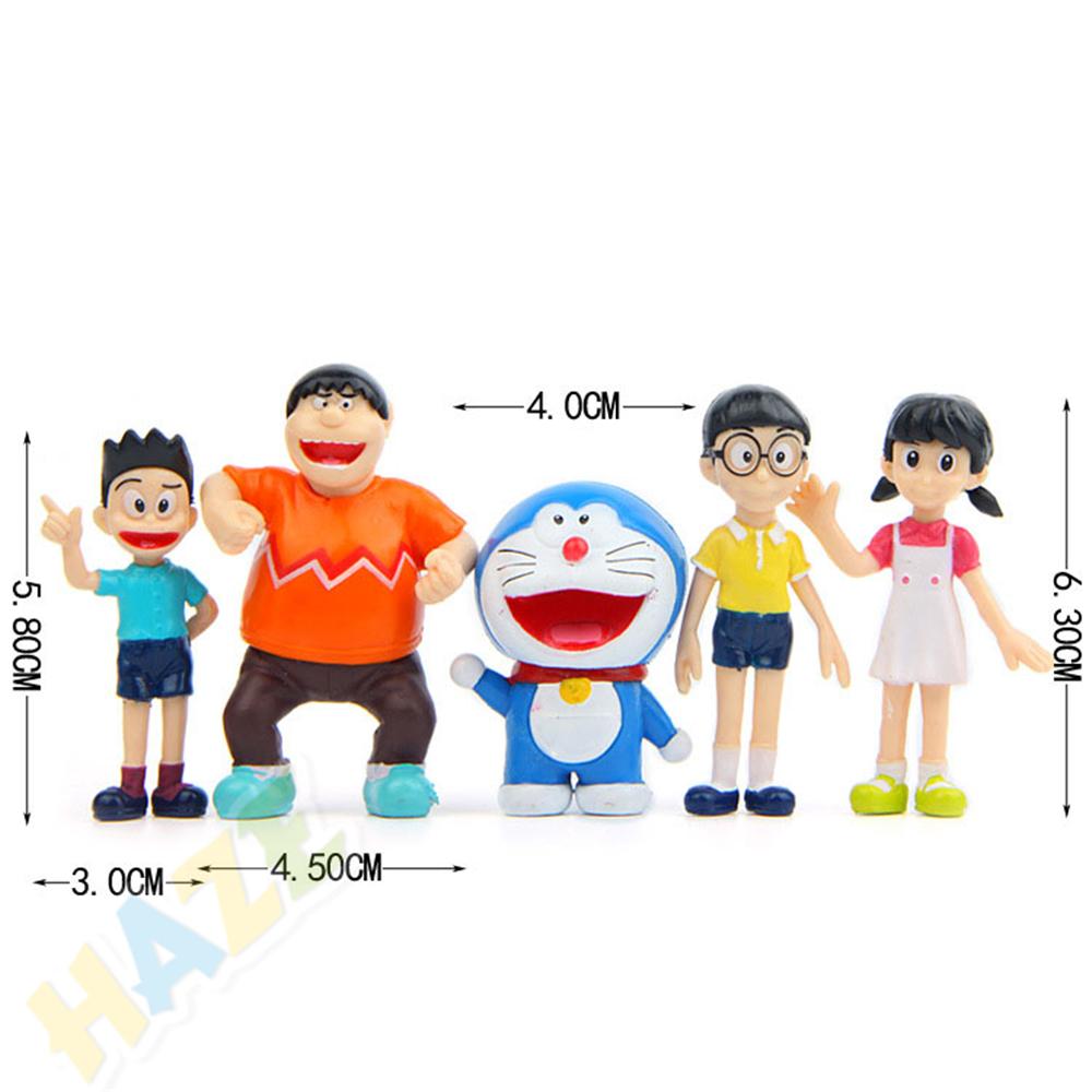 5pcs Doraemon Nobi-Nobita Dorami Shizuka Minamoto Suneo mini figure 4-5cm #j7