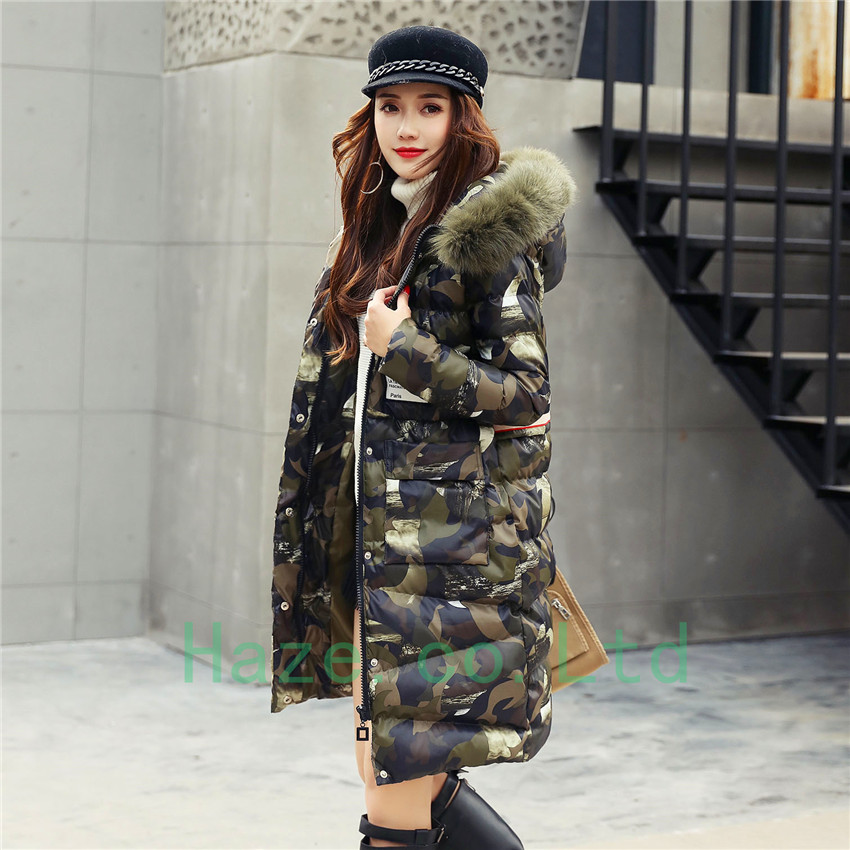 clearance sale latest selection how to choose Details about Fox Fur Collar Hooded Camo Coat Women Down Cotton Parka  Camouflage Overcoat Gift