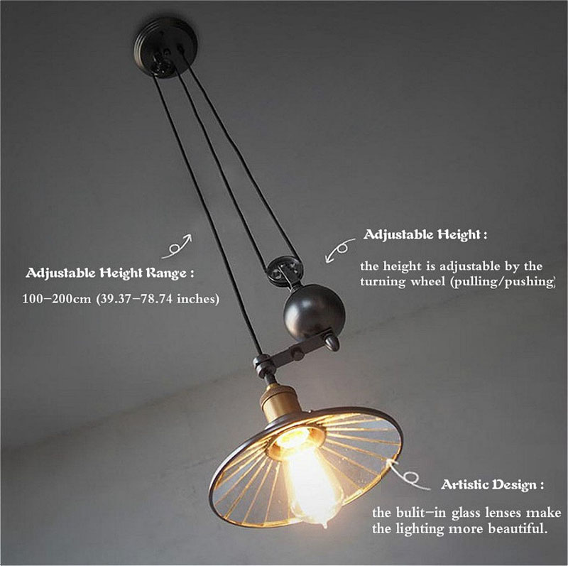 Vintage Industrial Pendant Light Retro Retractable Pulley