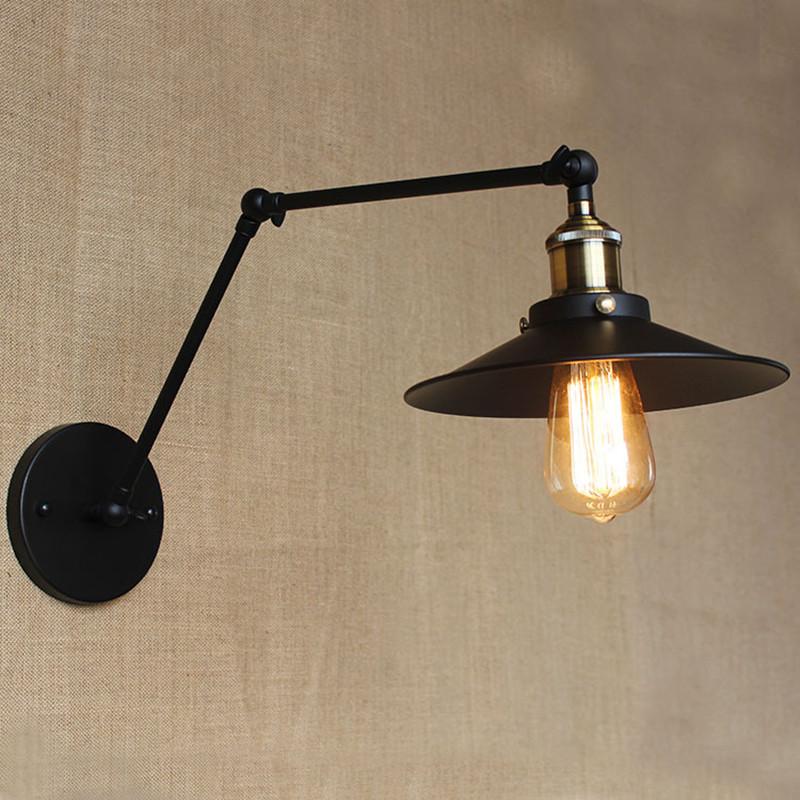 Industrial Vintage Barn Wall Lamp Adjustable Swing Arm Light Wall ...