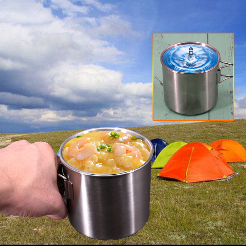 UK 500ml Camping Cookware Water Cup Mug Foldable Handle Portable Outdoor Picnic