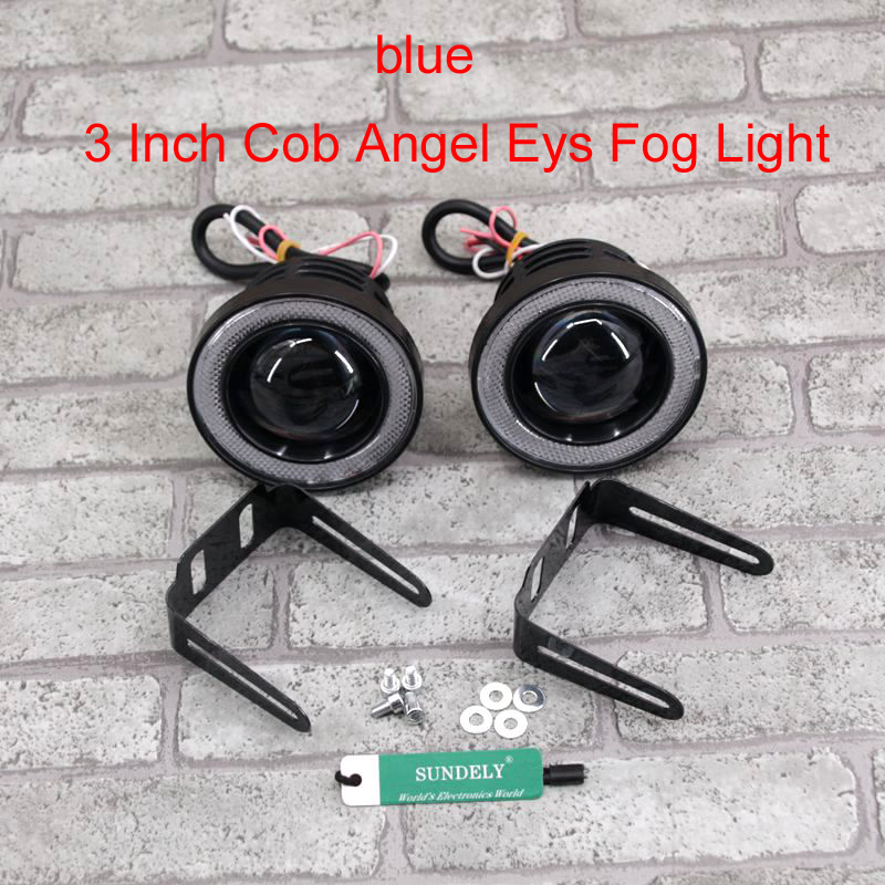 SUNDELY/® 2 Pcs COB 3.5 Universal Projector LED Fog Lights Lamps Halo Angel Eyes Rings