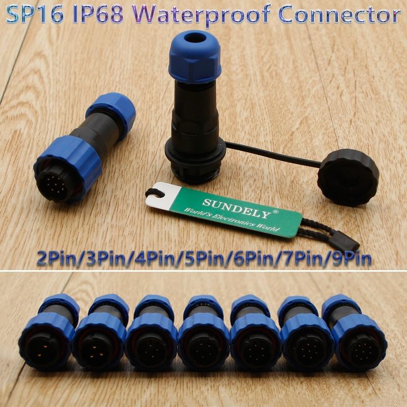 SP16 IP68 Waterproof 2 //3 //4 //5 //6 //7 //9Pin Aviation Plug and Socket Connector