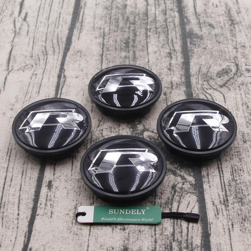 4Pcs R Line Black Wheel Center Caps 65mm 3B760117 For  Type