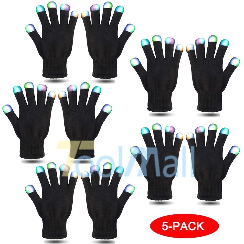 2X LED Rave Flashing Gloves Glow 7 Mode Light Up Finger Tip Lighting Pair Black