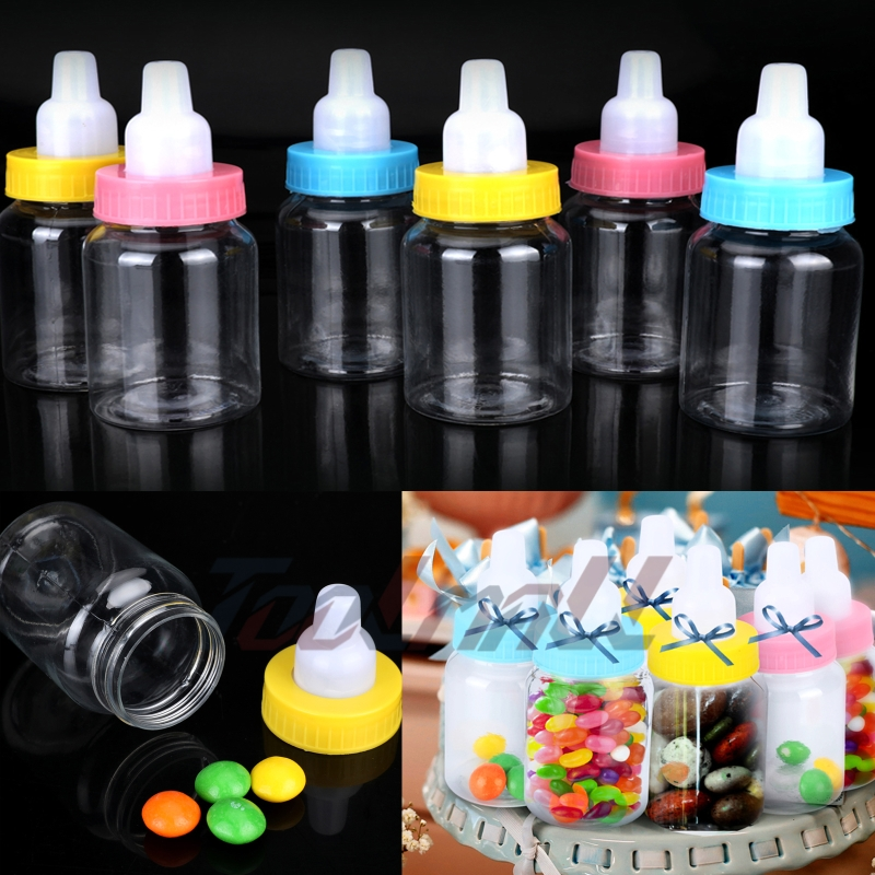 New 50 Baby Shower Fillable Bottles Favors Blue Pink Party Decorations Girl Boy