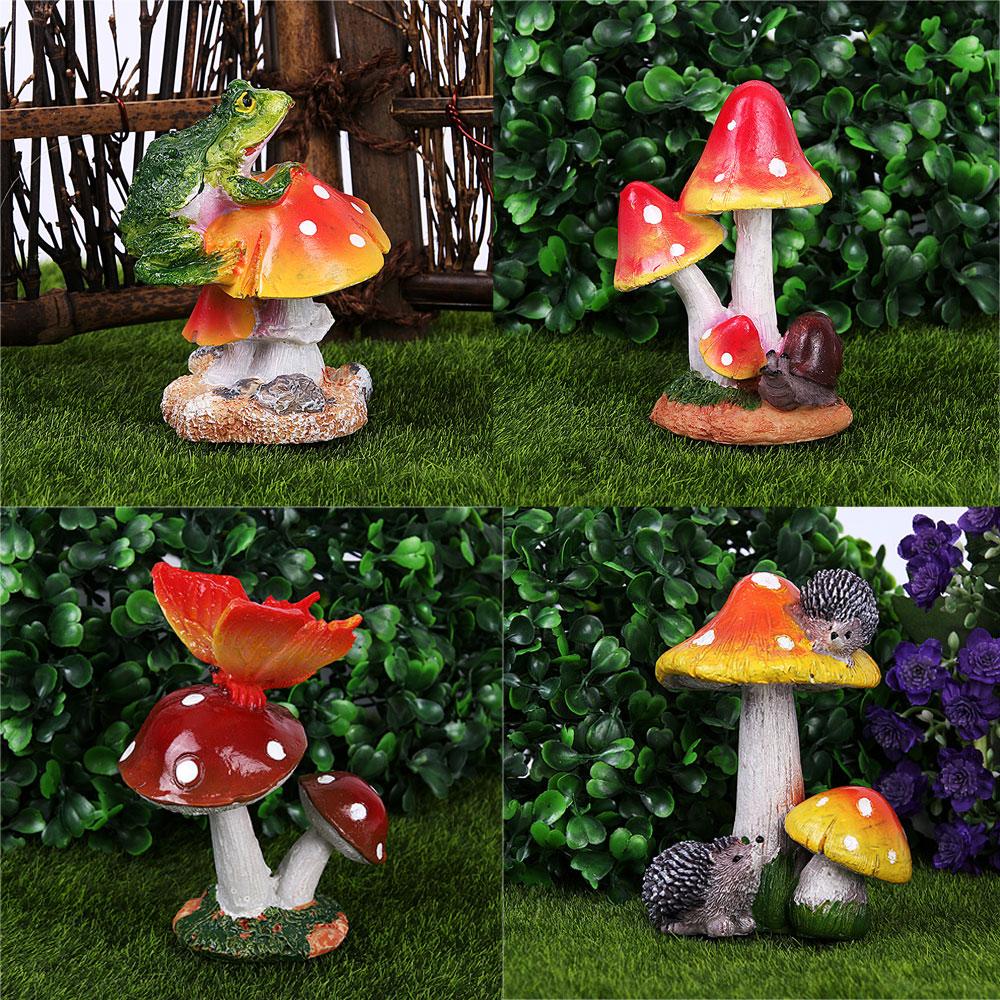 Miniature Mushroom Flower Fairy Garden Dollhouse Craft Ornament Pot ...