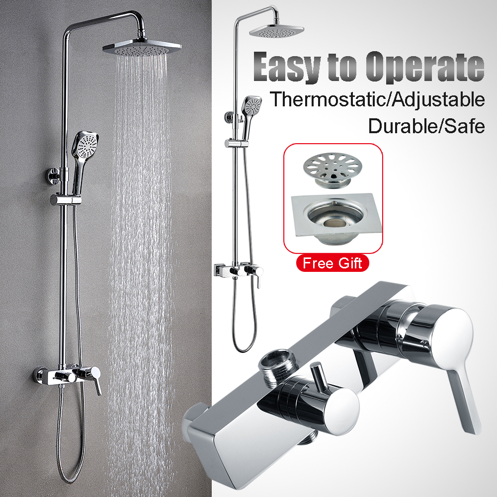 New Thermostatic Twin Head Shower Mixer Exposed Chrome Valve Shower ...