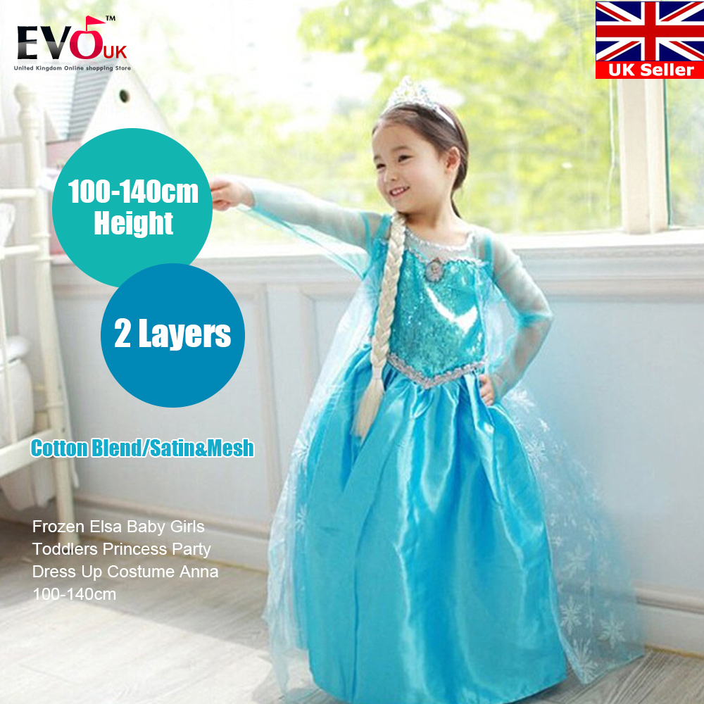 Elegant Princess Party Dress Up Baby Girls Toddlers Icy Blue Costume ...