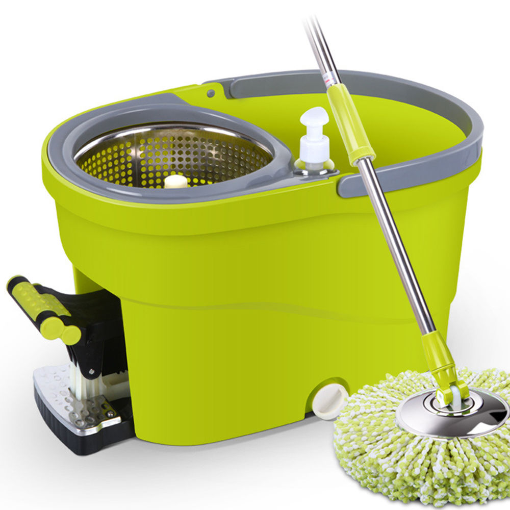 360 degree spinning mop steel spindry bucket w 2 mop heads free