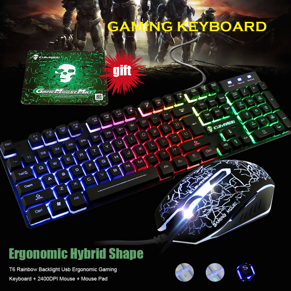 T6 Rainbow Backlight Illuminated Multimedia Wired Gaming Keyboard Computer Wiring Diagram And Mouse Set