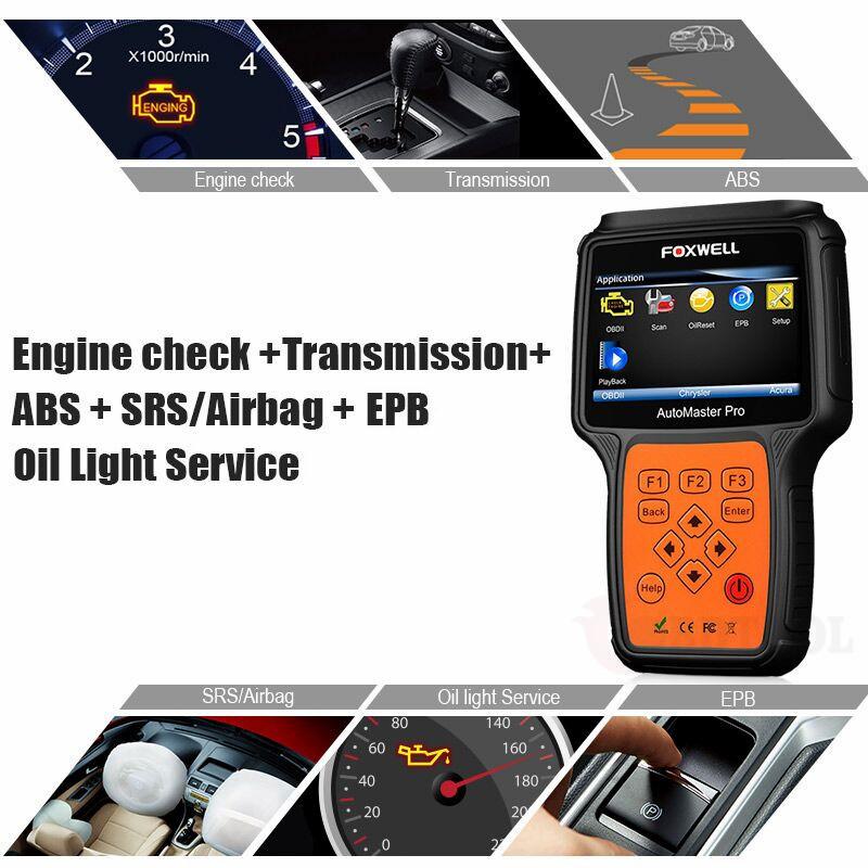Engine Transmission ABS SRS Auto Scan Tool Diagnostic Scanner OBD2 Code Reader