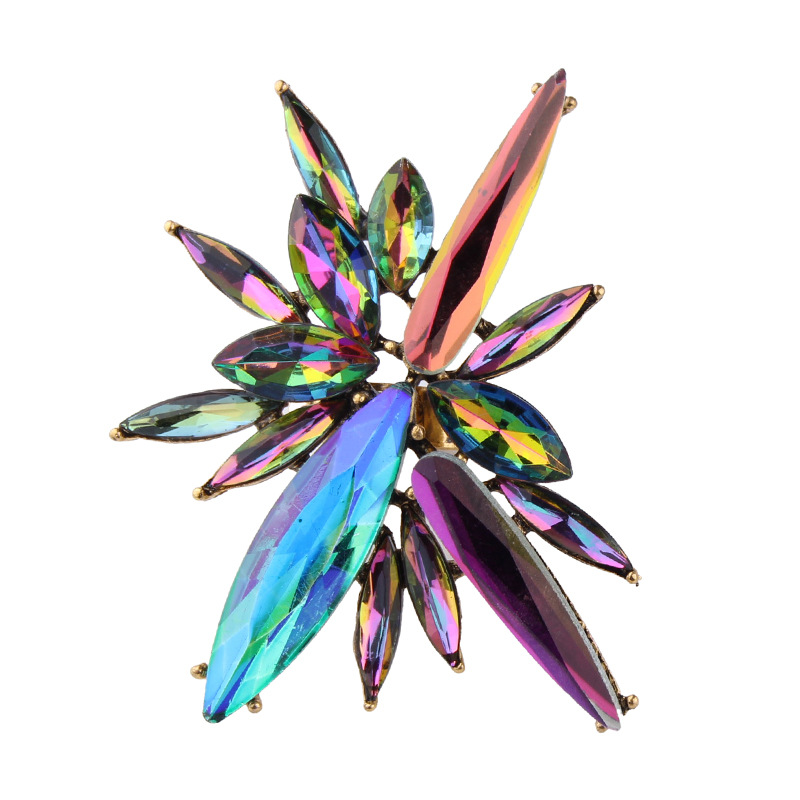 Women  Multicolored Bohemian Cross Charm Luxury Crystal Adjustable Open Rings