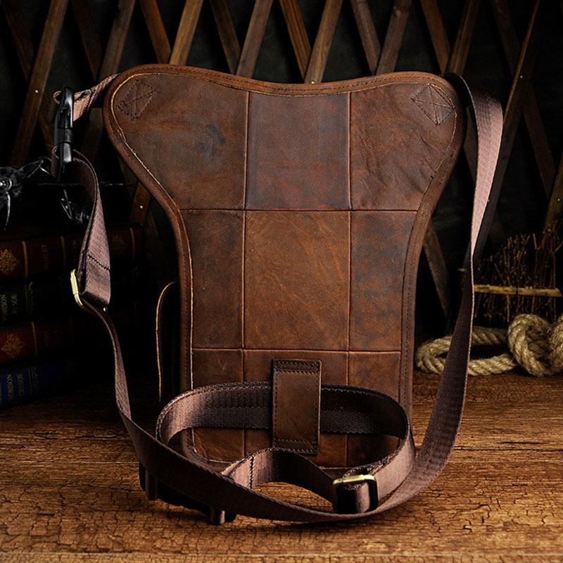 Men Vintage Leather Drop Leg Bag Riding Shoulder Pack