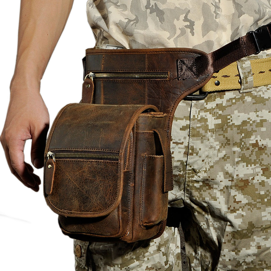 5ff7171ee2b Details about Genuine Leather Thigh Drop Leg Bag Men Messenger Hip Belt  Fanny Pack Waist Bags
