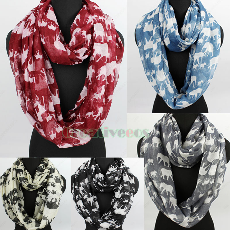 Details about Fashion Women Elephant Animal Print Viscose Long Infinity  Scarf Ladies Scarf New d44d6c32f