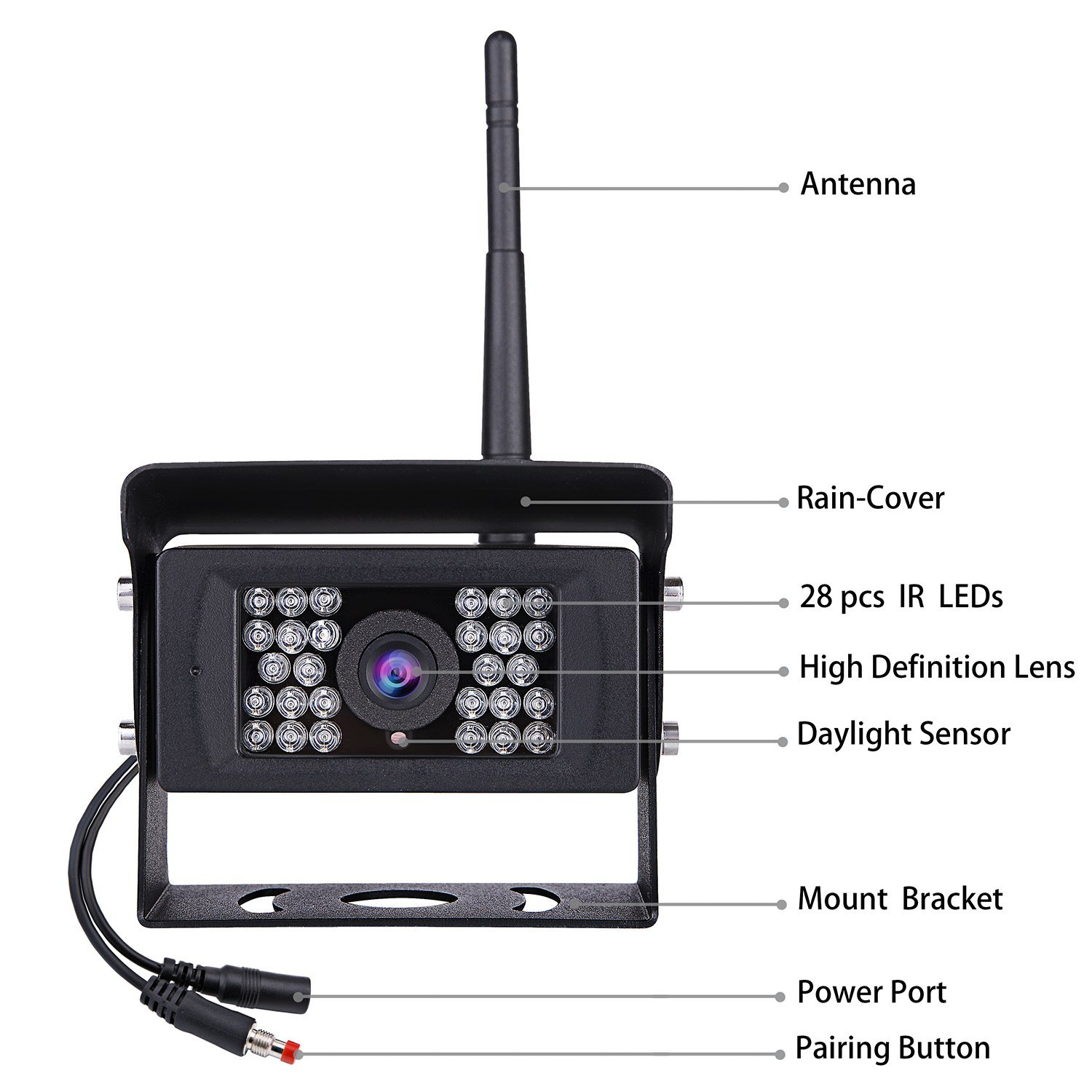 Truck Bus Wireless Systems Reverse Rear View Back Up 7inch Hd Backup Camera Wiring 1 X Car 2 Antennas Cigarette Lighter User Manual