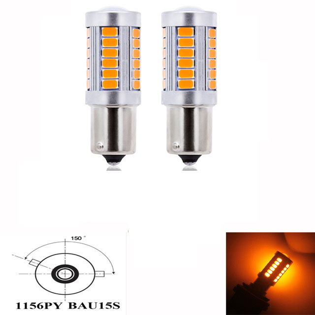 4pcs White LED 1156PY BAU15S PY21W 33SMD 5630 Turn Signal Light Rear Tail Lamps