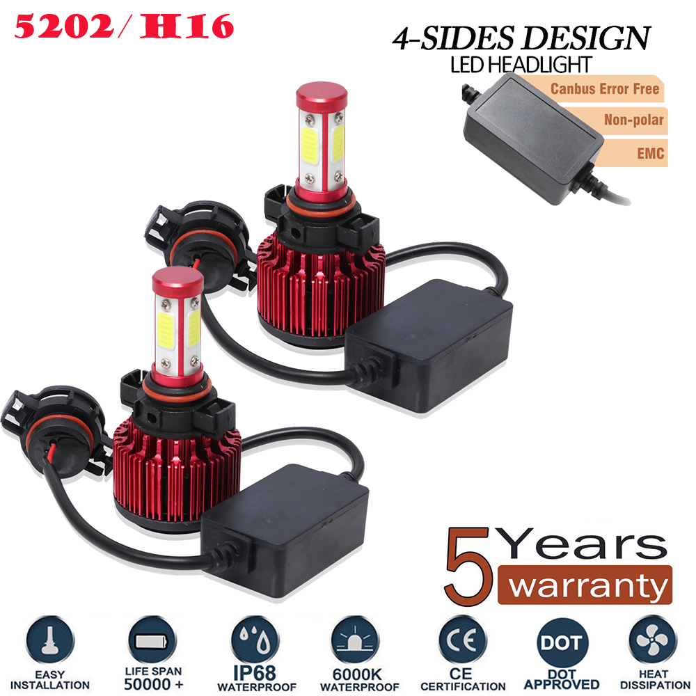 5202 H16 Fog Led Headlight Conversion Kit 200w 20000lm 6000k Light Canbus Bulbs