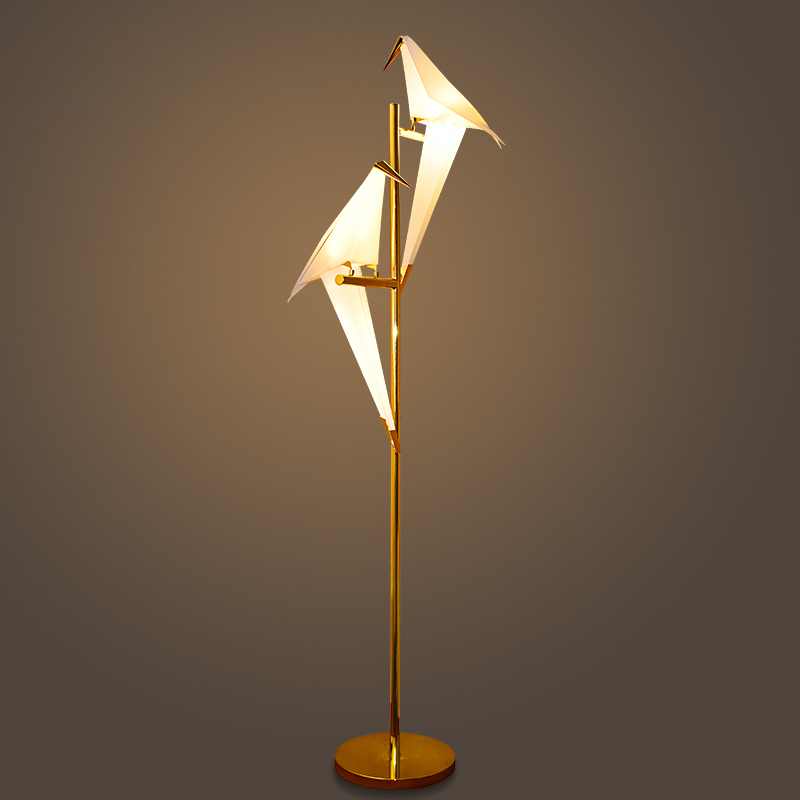 Artistic 1 2 Pvc Bird Shade Led Golden Linear Standing
