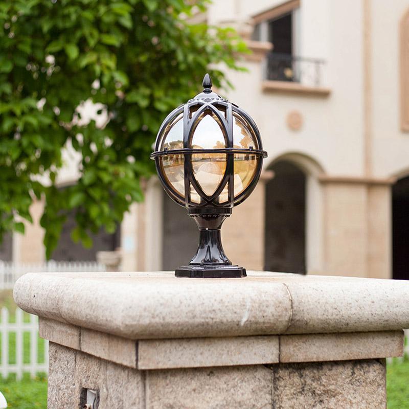 Vintage Solid Brass Pillar Light: Vintage Black/Brass Metal Globe With Tea Glass Shade