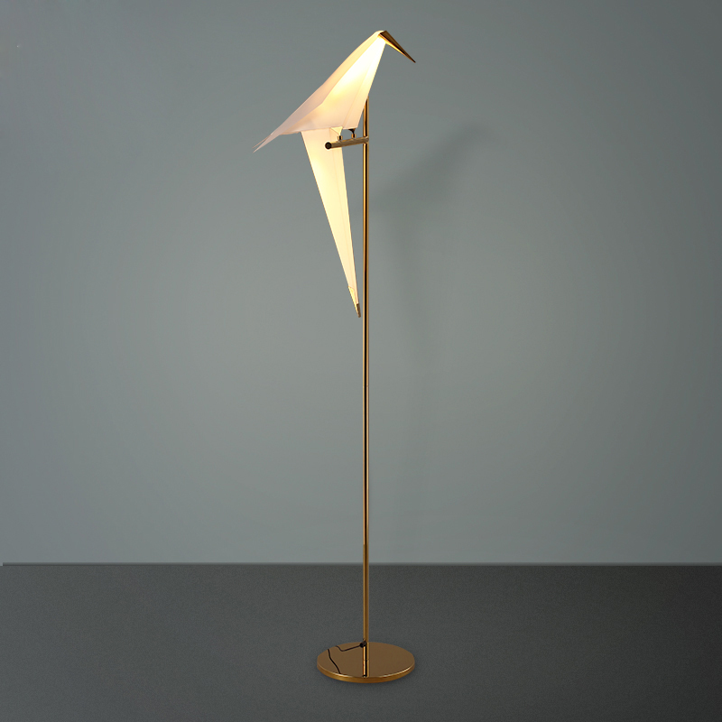 Artistic 1 2 Pvc Bird Shade Led Golden Linear Standing