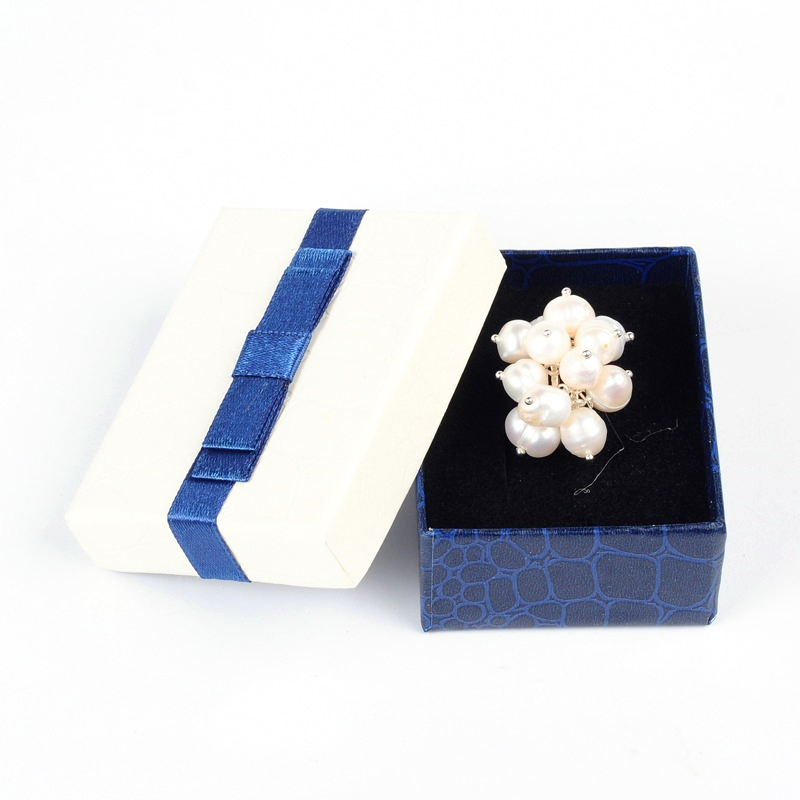 10x Blue White Cuboid Cardboard Ring Boxes Bowknot Ribbon Jewelry