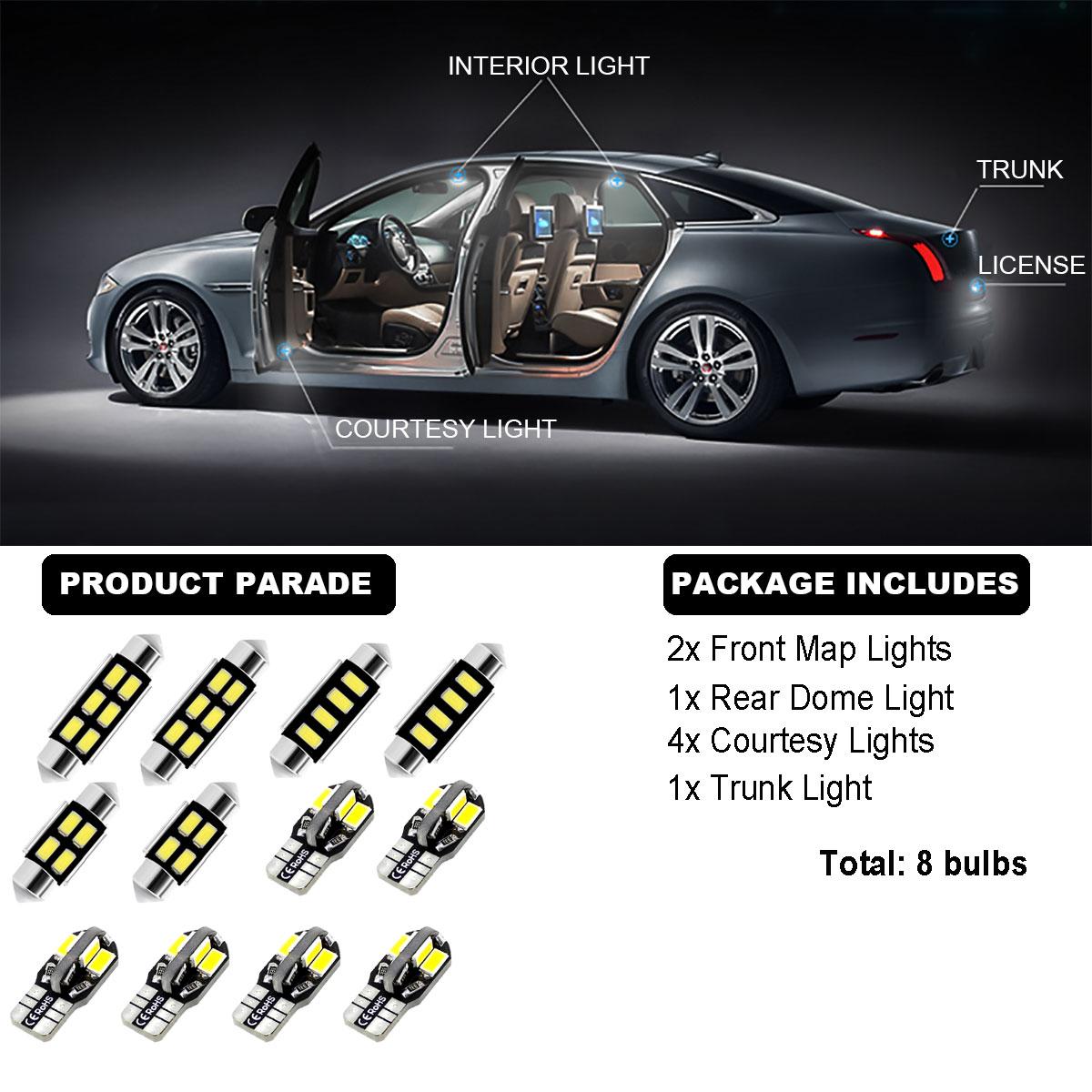8Bulbs 5630 Xenon White 6000K Interior Light Kit LED SMD
