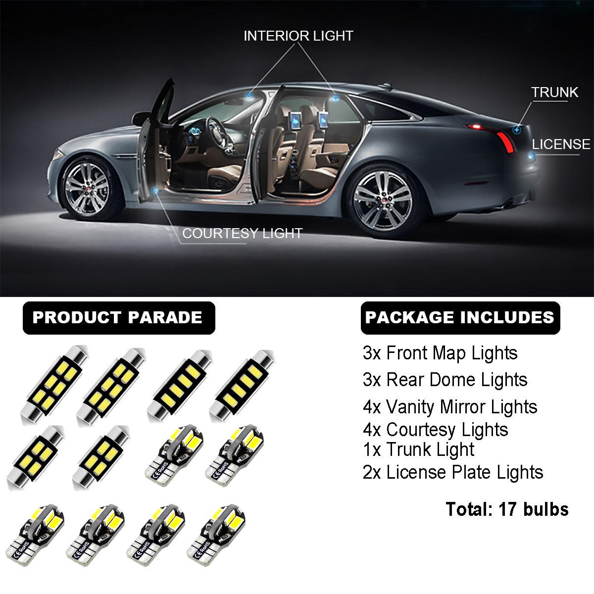 17Bulbs Interior Dome Light Kit LED HID Xenon White 6000K