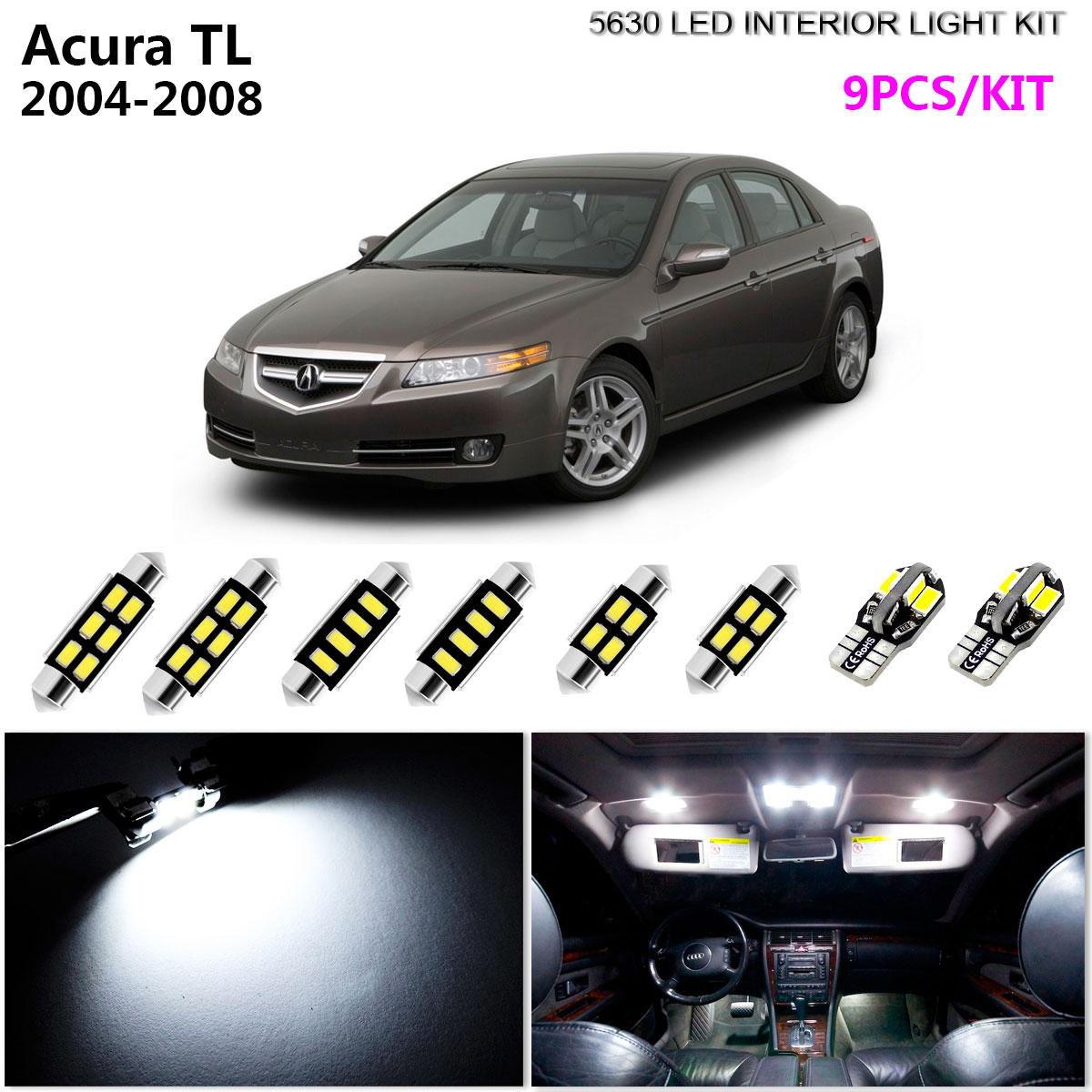 For Acura TL 2004-2008 Xenon White LED Interior kit White License Light LED