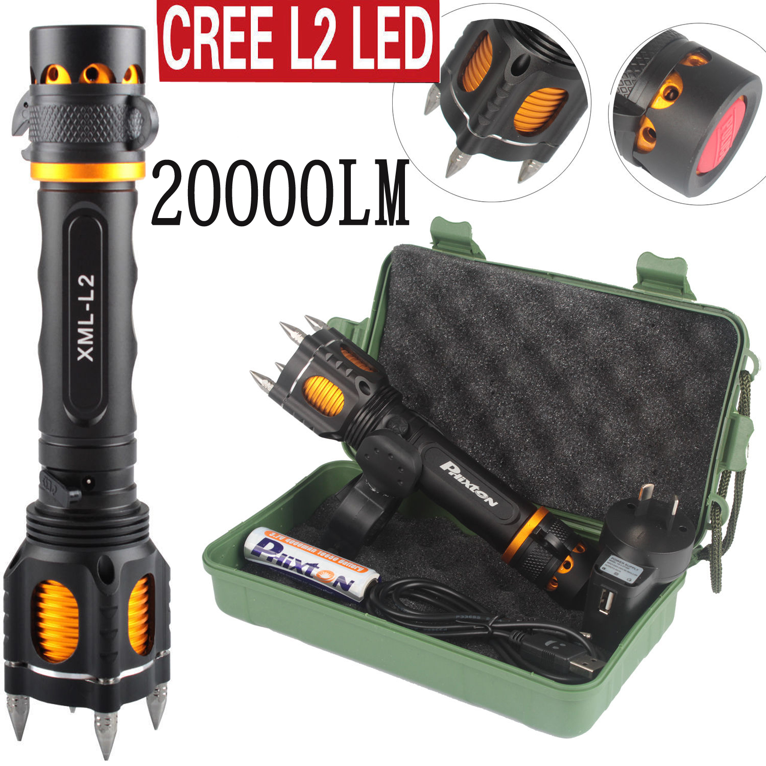 20000LM T6 LED  Tactical Torch Adjustable Focus 18650 Lamp FT