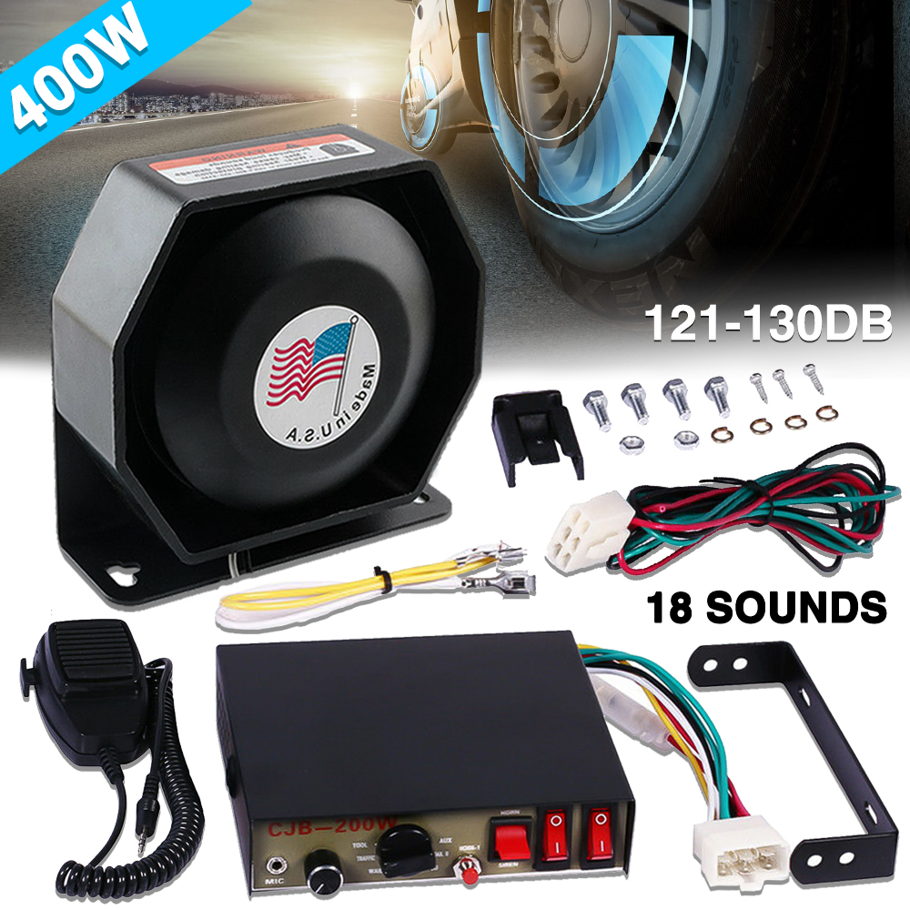 400W 18 Tones Car Warning Fire Alarm Siren Horn Loud Speaker System Set